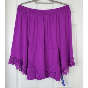 NWT nygard magenta of the shoulder Ruched lace top